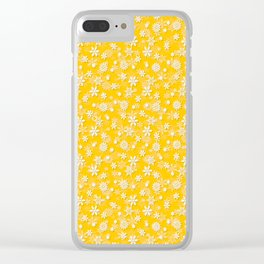 Festive Yellow Aspen Gold and White Christmas Holiday Snowflakes Clear iPhone Case