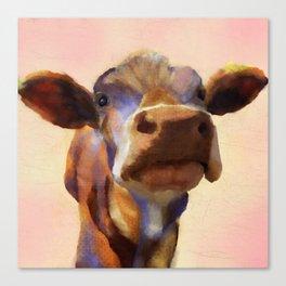 Cora the cow, cow art, cow, farm, animal Canvas Print