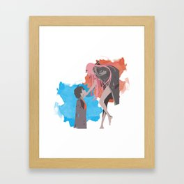 DARLING in the FRANXX Minimalist (Hiro and Zero Two) Framed Art Print