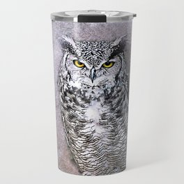 Owl bird art abstract vintage Travel Mug