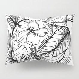 corazón con flores blanco y negro Pillow Sham