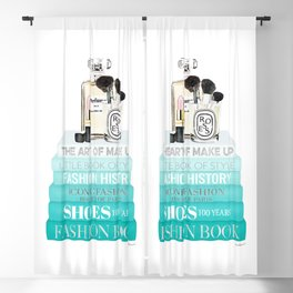 Teal fashion books with perfume bottle and make up brushes by Amanda Greenwood Blackout Curtain