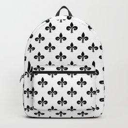 Black French Fleur de Lis on White Backpack