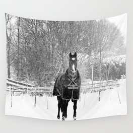 Horse in the Snow Wall Tapestry