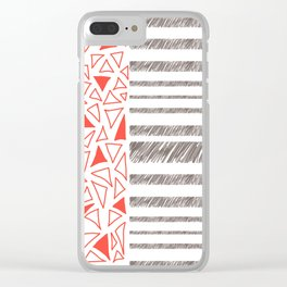 Red Rectangles Pattern Clear iPhone Case
