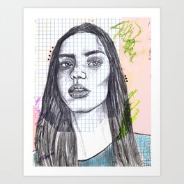 Mixed Media Sketch Art Print