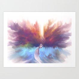 Con la cabeza en las nubes Art Print