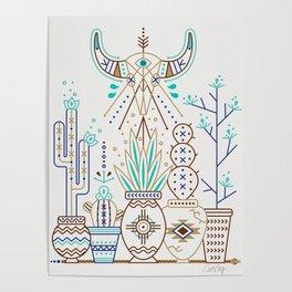 Santa Fe Garden – Turquoise & Brown Poster