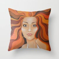 redhead Throw Pillows featuring Redhead by Sophie Klimos