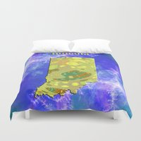 indiana jones Duvet Covers featuring Indiana Map by Roger Wedegis