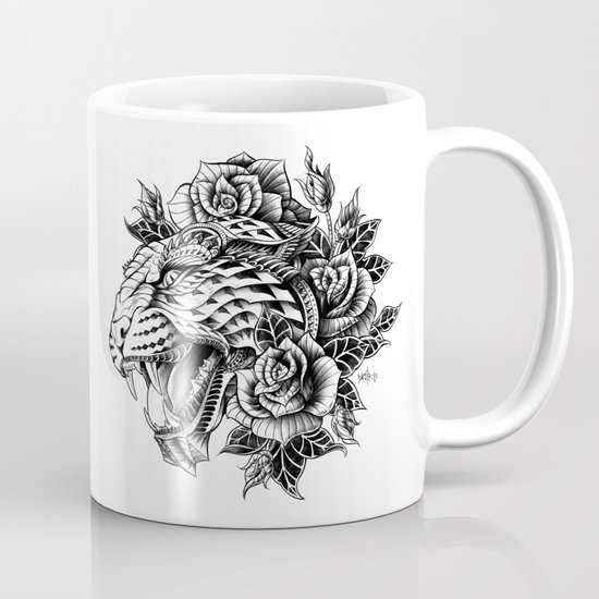 Ornate Leopard Black & White Variant Mug