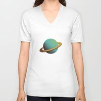 planet V-neck T-shirts featuring planet by Rafa  Miguel