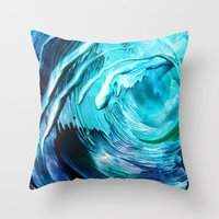 surfing Throw Pillows featuring Surfing by ART de Luna