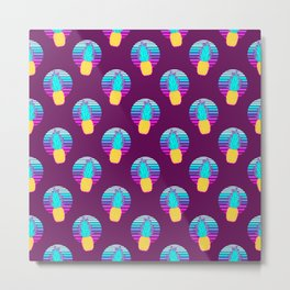 Vaporwave pineapples. Maroon background. Metal Print