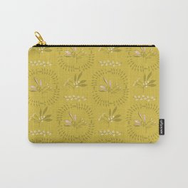 Mustard Yellow Leaf Wreath Circle Berry Branch Carry-All Pouch