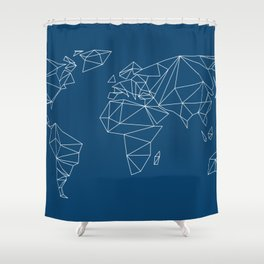 geo world map indigo blue Shower Curtain