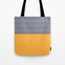 Mustard & Navy Blue Half Striped Tote Bag