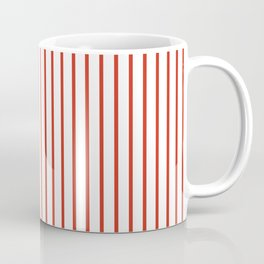 Dahlia Red Pinstripe on White Coffee Mug