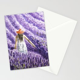 Girl on Lavenders Field Stationery Cards