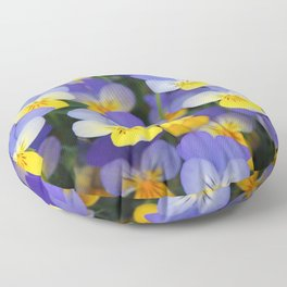 Yellow and Blue Flower Pansies closeup of colorful pansy flower  Floor Pillow