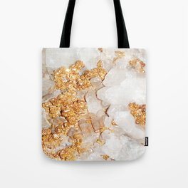 White and Rose Gold Crystal Tote Bag