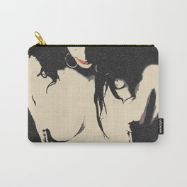 Dark BDSM, pain is a pleasure, sexy brunette topless, erotic slave girl nude, red lips, naked woman Carry-All Pouch