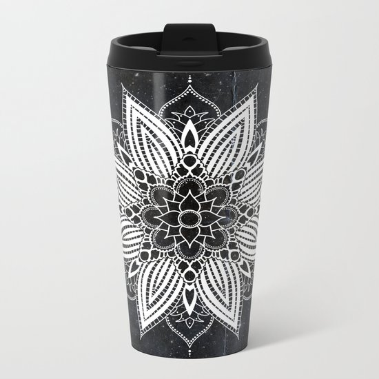 Flower Mandala in the Stars Metal Travel Mug