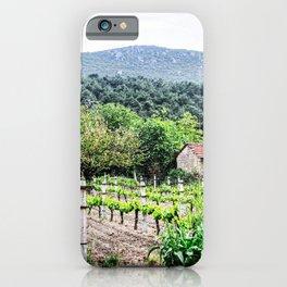 Country Farm | Cute Vineyard Cottage Farming Landscape Rolling Hills Green Mountains Grape Vines iPhone Case