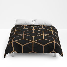 Black and Gold - Geometric Cube Design Comforters