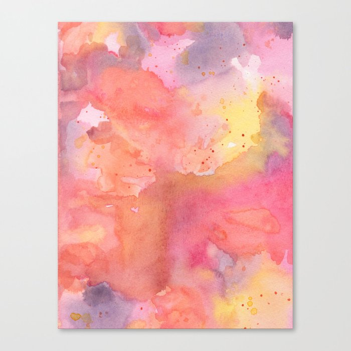 sunset color palette abstract watercolor painting canvas print by