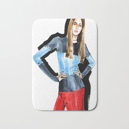 Fashion #16. Long-haired girl in fashionable dress-transformer Bath Mat