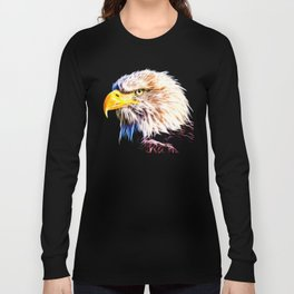 bald eagle 03 neon lines stardust Long Sleeve T-shirt