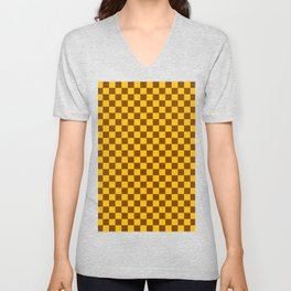 Amber Orange and Chocolate Brown Checkerboard Unisex V-Neck