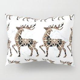 Marbled Black and Rose-Gold Mandala Reindeer Textile Pillow Sham