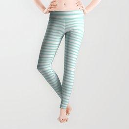 Aqua blue and White stripes lines - horizontal Leggings