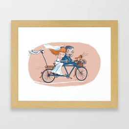Happy Bridal Couple Framed Art Print