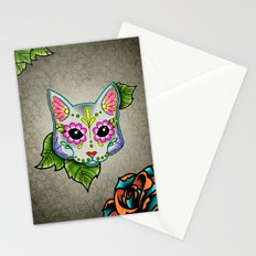 Day of the Dead Grey Kitty Cat Sugar Skull and Rose Stationery Cards