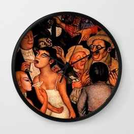 Classical Masterpiece 'Night of the Rich' by Diego Rivera Wall Clock
