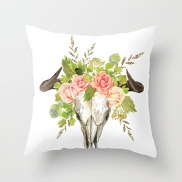 Bohemian bull skull and antlers with flowers Throw Pillow