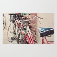 bicycles Area & Throw Rugs featuring Bicycles by Yolanda Méndez