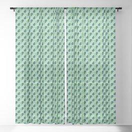 Abstract Geometric Shapes Broken Honeycomb Dark Green, Light Green and Pastel Green Sheer Curtain
