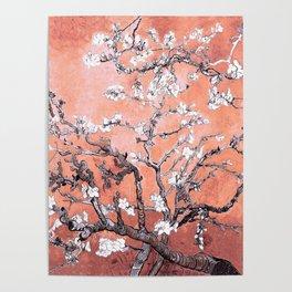 Van Gogh Almond Blossoms : Deep Peach Poster