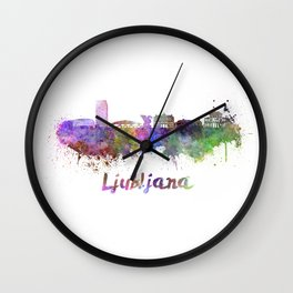 Ljubljana skyline in watercolor Wall Clock