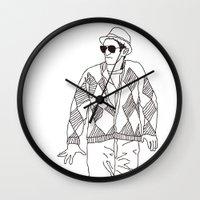eddie vedder Wall Clocks featuring eddie by Panic Junkie