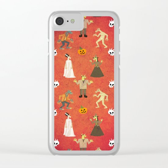 Unicorn Halloween Pattern Clear iPhone Case