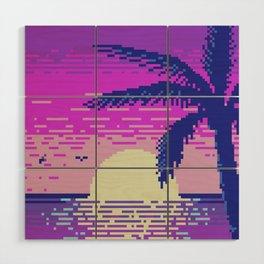 Pixel Sunset Wood Wall Art