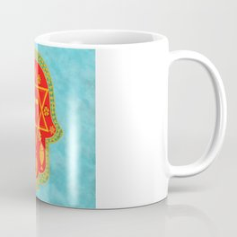 Hamsa for blessings and protection - turquoise red Coffee Mug