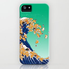 Christmas Shiba Inu The Great Wave iPhone Case