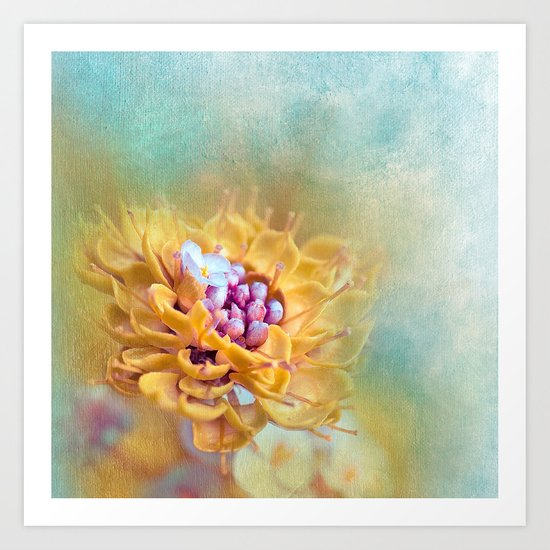 VARIE SQUARE - Floral and painterly texture work Art Print