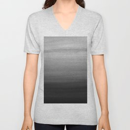 Touching Black Gray White Watercolor Abstract #1 #painting #decor #art #society6 Unisex V-Neck